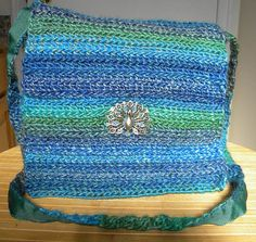 Peacock Crochet Variegated Blue and Green by LunaEncantadaDesigns