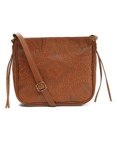 Look at this #zulilyfind! Cognac Passport Embroidered Crossbody Bag #zulilyfinds