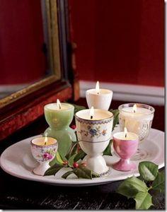 #upcycled egg cup #candle gift // værtindegave lys i æggebæger
