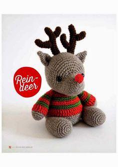 PATRONES GRATIS DE CROCHET: Amigurumi de NAVIDAD del reno Rudolph a crochet...patrón gratis Crochet Deer, Crochet Toys, Crochet Baby, Crochet Gratis, Crochet Winter, Holiday Crochet, Christmas Deer, Christmas Crafts, Bear Nursery