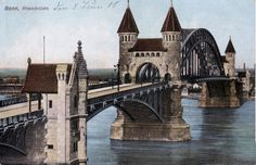 Views of the old 432 metre long bridge over the rhine river at bonn in ...