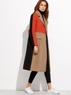 Color Block Patchwork Double Breasted Coat-Women - Apparel - Outerwear - Coats-Look Love Lust Mode Mantel, Coats For Women, Clothes For Women, Double Breasted Coat, Mode Hijab, Outerwear Women, Trench Coats, Women's Coats, Coats 2017