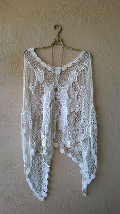 Image of   Anthropologie Gypsy cape sleeve crochet boho summer Bohemian Kimono