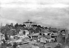 Los Angeles' first high school atop Poundcake Hill in 1883. Courtesy of Title Insurance and Trust / C.C. Pierce Photography Collection, USC Libraries.