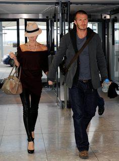 Victoria and Davd Beckham at Heathrow airport. April, 2011