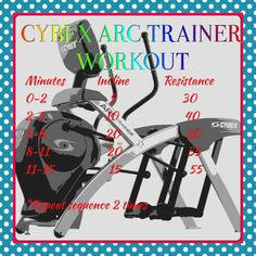 Cybex Arc Trainer Workout. See more great workouts at http://sexymoxiemama.wordpress.com