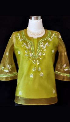 Affordable Ladies/ Women's Barong - Barongs R us - Barongs R us Barong Tagalog, Filipiniana Dress, Philippines Fashion, Line Shopping, Black Dress Pants, Well Dressed, Olive Green, Bell Sleeves, Feminine