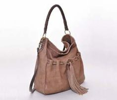 Brown Tania Leather Bag with tassel.