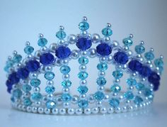 Dark Blue and Turquoise Diva Tiara  Mermaid by CreativeCalling1