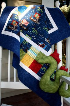 Quilt ideas.... Viking Ships Baby Boy Quilt with Stuffed Sea by ThePlaidPup, $135.00