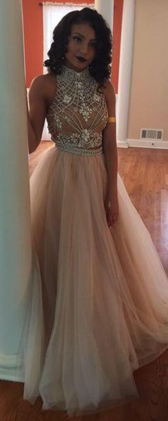 Champagne Two Piece Prom Dress, Beaded Prom Dress, Open Back Prom Dresses Prom Dresses Two Piece, Prom Dresses For Sale, A Line Prom Dresses, Homecoming Dresses, Formal Dresses, Prom Gowns, Dresses 2016, Graduation Dresses, Formal Wear