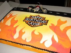 French vanilla cake with vanilla bavarian cream filling, covered in buttercream with fondant flames Motorcycle Birthday Cakes, Motorcycle Cake, Harley Davidson Cake, Harley Davidson Birthday, Teen Boy Cakes, Cakes For Boys, Bavarian Cream Filling, French Vanilla Cake, New Cake