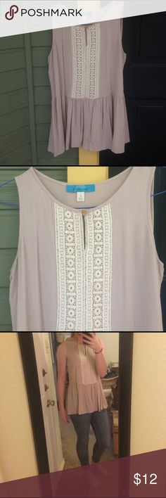 Francesca's peplum tank! Super light and glory peplum tank! The color is a mauve/cream color! Looks adorable on! Size small and like new! The brand is Buttons and I'm pretty sure I got it at Francesca's! Francesca's Collections Tops Tank Tops