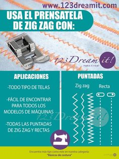 123 Dream it! Sewing Basics, Sewing Hacks, Sewing Projects, Diy Projects, Costura Diy, Make Tutorial, Kinds Of Fabric, Straight Stitch, Zig Zag