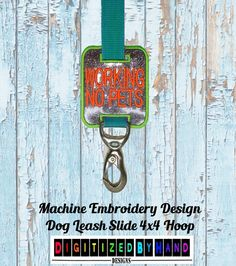 In the Hoop Dog Leash Slide  Marine Vinyl Dog by DigitizedByHand