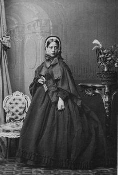 Queen Emma (1836-1885), the widow of King Kamehameha IV of Hawaii in mourning dress.
