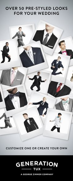Create and rent the look you've always imagined for your wedding without ever visiting a store. We provide the highest quality tuxedos and suits online in just four easy steps. All styles are $95 with guaranteed fit and free delivery to your door.