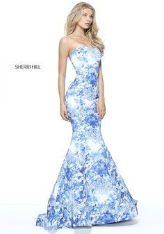 Ivory and blue print strapless mermaid. 51198 - SHERRI HILL