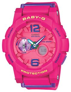 Easily check your current tide information with Casio's sporty Baby-G in a dynamic pink case. Blue accents allow easy readability making this watch not just colorful but functional. With each press of