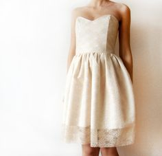 Ivory Dream  Beige Ivory White Lace Dress Cotton  by WhimsyTime, $110.00