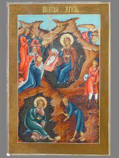 Антиквариат. антикварная Икона «Рождество Христово»
