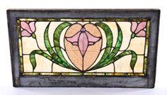 original c. 1907-10 art nouveau style leaded art glass residential transom window