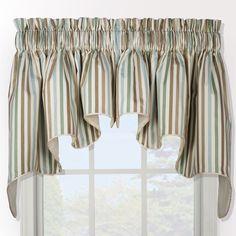 Ellis Curtain Line Up Duchess 2-piece Window Valance (Latte), Brown (100% Cotton, Stripe)