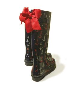 Navy Anchor Rain Boots with Red Bow. $58.00, via Etsy.