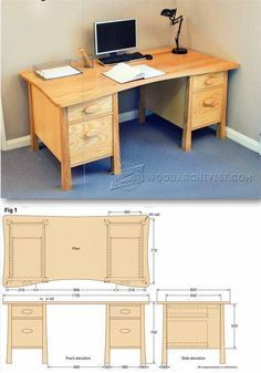 Twin Pedestal Desk Plans - Furniture Plans and Projects | WoodArchivist.com