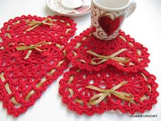 Crochet Heart With Ribbon Tutorial Pattern PDF, Easy Crochet Heart Pattern, Red Heart Valentine Day Gift, Lyubava Crochet Pattern number 39