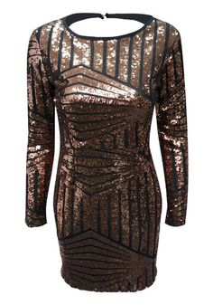 Backless Sequin Dress - Long Sleeves Sequins Dress #Christmas #Fashion