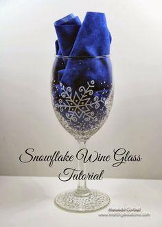 DIY snowflake wine glass tutorial