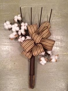 Repurposed pitchfork cotton doorhanger - wreath