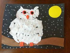 Rockabye Butterfly: Ripped Paper Owl Art (Halloween Art For Babies) Owl Crafts, Animal Crafts, Paper Crafts, Autumn Art, Winter Art, Winter Theme, Kindergarten Art, Preschool Crafts, Winter Crafts For Kids
