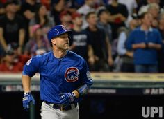 Chicago Cubs' David Ross watches a solo home run against the Cleveland Indians during the sixth inning in World Series game 7 at Progressive Field in Cleveland, Ohio, on November 2, 2016. Photo by Pat Benic/UPI