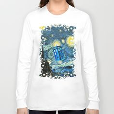 Flying Phone box doctor starry night oil painting Long Sleeve T-shirt #tardis #doctorwho #starrynight #vangogh #screamingman #flying #phonebooth