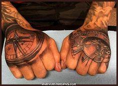 80 Clock Tattoo Designs For Men - Timeless Ink Ideas Compass Thigh Tattoo, Vintage Compass Tattoo, Simple Compass Tattoo, Nautical Compass Tattoo, Back Of Hand Tattoos, Tribal Hand Tattoos, Skeleton Hand Tattoo, Herren Hand Tattoos, Hand Tats