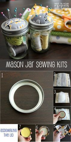 Sewing Gifts - In love with mason jar crafts? If you need some cool DIY projects to make with your mason jars in under an hour, here's our updated list to use! Pot Mason Diy, Mason Jars, Mason Jar Storage, Mason Jar Gifts, Canning Jars, Glass Jars, Jar Crafts, Bottle Crafts, Sewing Hacks