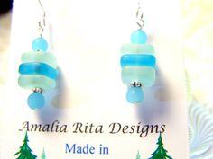Sea Glass Earrings in Aquamarine Beach Glass Jewelry by amaliarita, $15.00