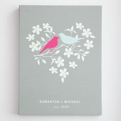 love it! - personalized love birds wall art