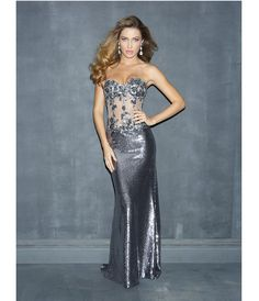 pewter formal dresses | Pewter Bead Lace & Sequin Sheer Strapless Prom Dress - Unique Vintage ...