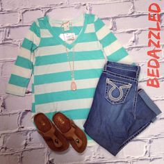 Cute & casual outfit for today! Mint Striped Shirt $24.99 (4 smalls & 1 medium) Big Star Capris $128.00 Sandals $18.99 (6, 6.5, 7) Necklace $21.99 #bedazzledokc #boutique #okc #shopbedazzled