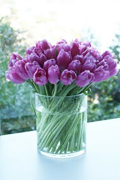 pink tulips flower arrangement ~ flowers + love quote