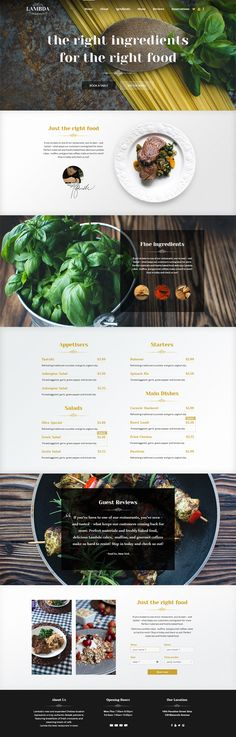 one page restaurant psd template based on our lambda wordpress theme