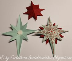 Hier ist Sie endlich, die versprochene Anleitung für die Sterne. Ihr benötigt folgende Sachen:       Natürlich kam das Stempelset Weihnacht...