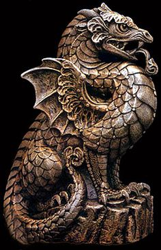 Dragon Gargoyle - I have wanted one, or two, of these for the longest time! Magical Creatures, Fantasy Creatures, Temple Of Light, Dragon's Lair, Dragon Images, Dragons, Mythological Creatures, Angels And Demons, Dragon Art