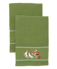 Take a look at this Winter Fun Embroidered Dish Towel - Set of Two by Design Imports on #zulily today!