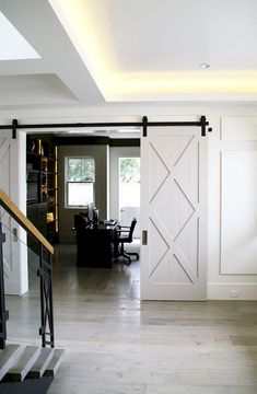INTERIOR- The doors provide privacy and reduce noise between premises. If it comes to a smaller space, sliding doors are suitable option, because the opening and closing take up less space than con… Barn Door Hinges, Diy Barn Door, Barn Door Hardware, Barnwood Doors, Door Latches, Interior Barn Doors, Home Interior, Interior Ideas, Sliding Door Design