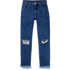 Monki Kimomo broken knees ($52) ❤ liked on Polyvore featuring jeans, pants, bottoms, pantalon, montana blue, high-waisted jeans, high waisted cropped jeans, highwaist jeans, cropped jeans and high waisted jeans