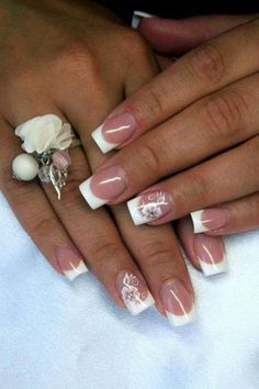 French manucure with white flower. french manucure with white flower nail art french manucure, french manicure acrylic nails, French Nails, French Acrylic Nails, French Tip Acrylics, French Manicure Designs, Acrylic Nail Designs, Nail Art Designs, Acrylic Tips, Cute Nails, Pretty Nails